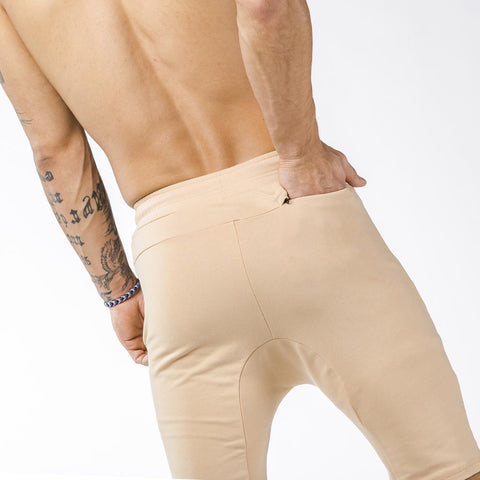tan iron bull strength zipper gym shorts