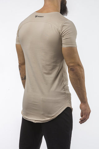 tan gym t-shirt scoop neck breathable shirt