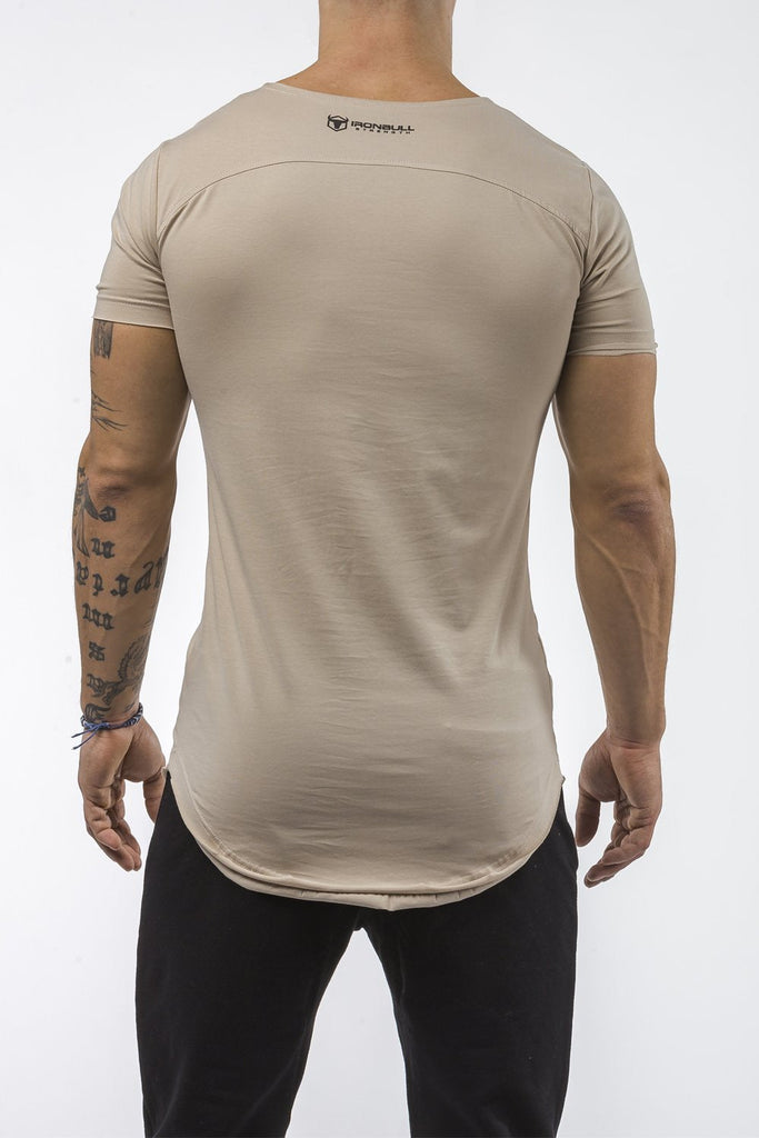 tan gym t-shirt scoop neck stretch cotton