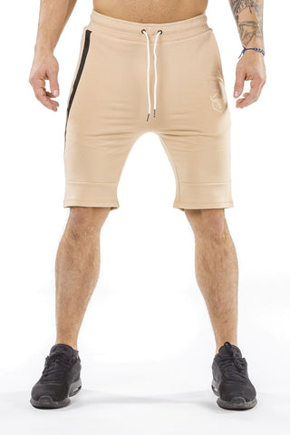 tan classic zip shorts from iron bull strength
