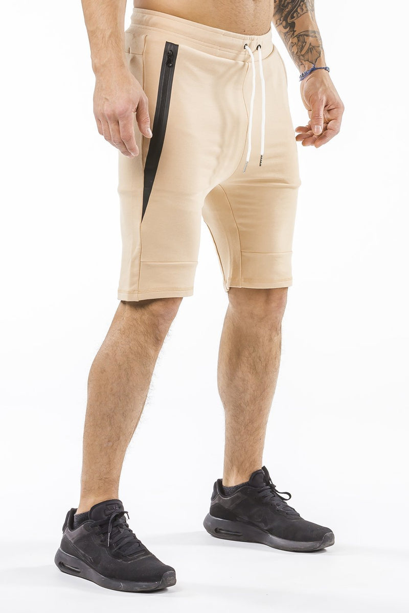 tan sports shorts with pocket zip
