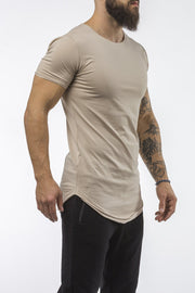 tan workout t-shirt o-neck comfortable shirt