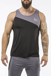 black-gray workout performance fit tank top casual wear