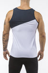 white-navy-blue gym training tank top stretch polyester