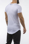 white gym t-shirt scoop neck breathable shirt