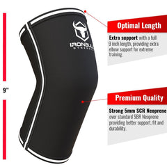 black-white iron bull strength 5mm elbow sleeve features
