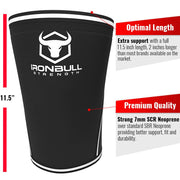 black-white iron bull strength 7mm knee sleeves features