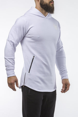 white pullover hoodie with zip iron bull strength