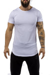 white gray workout t-shirt scoop neck casual wear