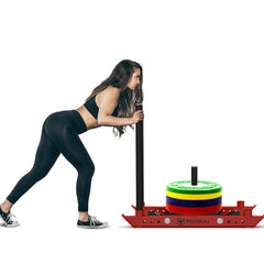 women butt and legs workout using power training sled