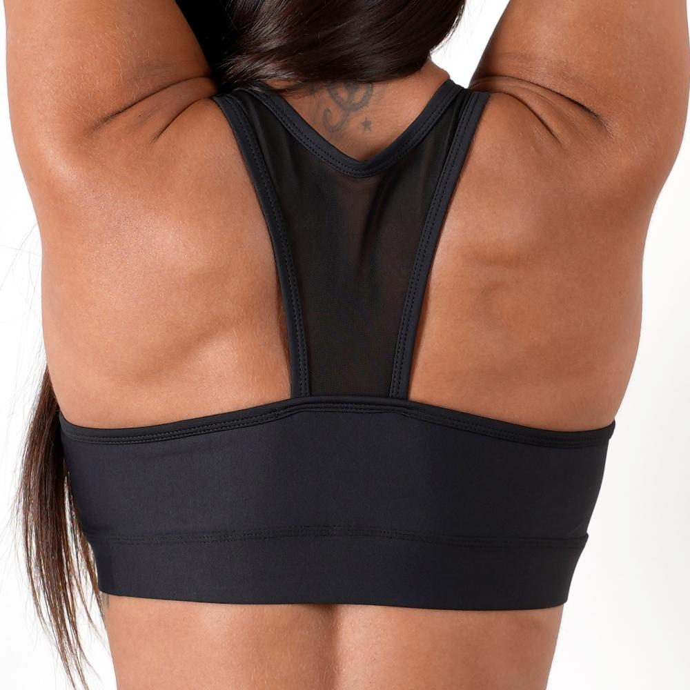 black women padded cups reinforced waistband elastic mesh top sports bra