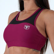 burgundy women polyester spandex blend mesh top sports bra