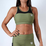 khaki women ultra soft stretchy support mesh top sports bra