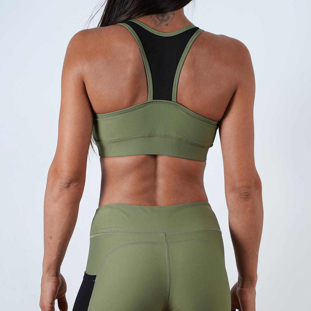 khaki women breathable quick dry mesh top sports bra