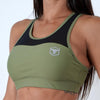 khaki women polyester spandex blend mesh top sports bra