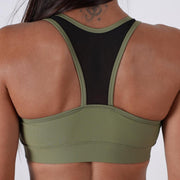khaki women padded cups reinforced waistband elastic mesh top sports bra