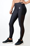 black women side mesh leggings with phone pocket