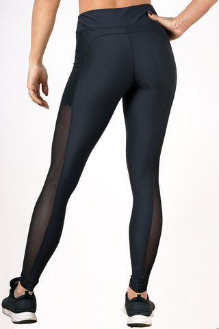 black breathable soft women side mesh leggings
