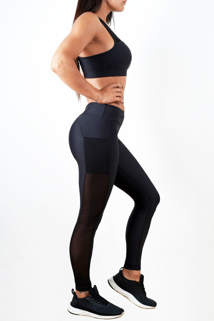 black stretchy women side mesh workout leggings