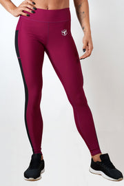 burgundy polyester spandex blend women side mesh leggings