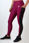 burgundy women side mesh leggings with phone pocket