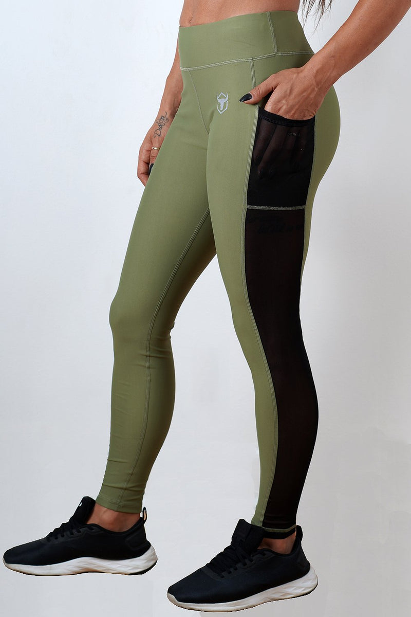 khaki women side mesh leggings with phone pocket