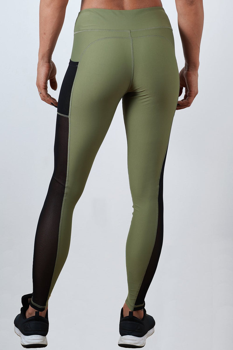 khaki breathable soft women side mesh leggings