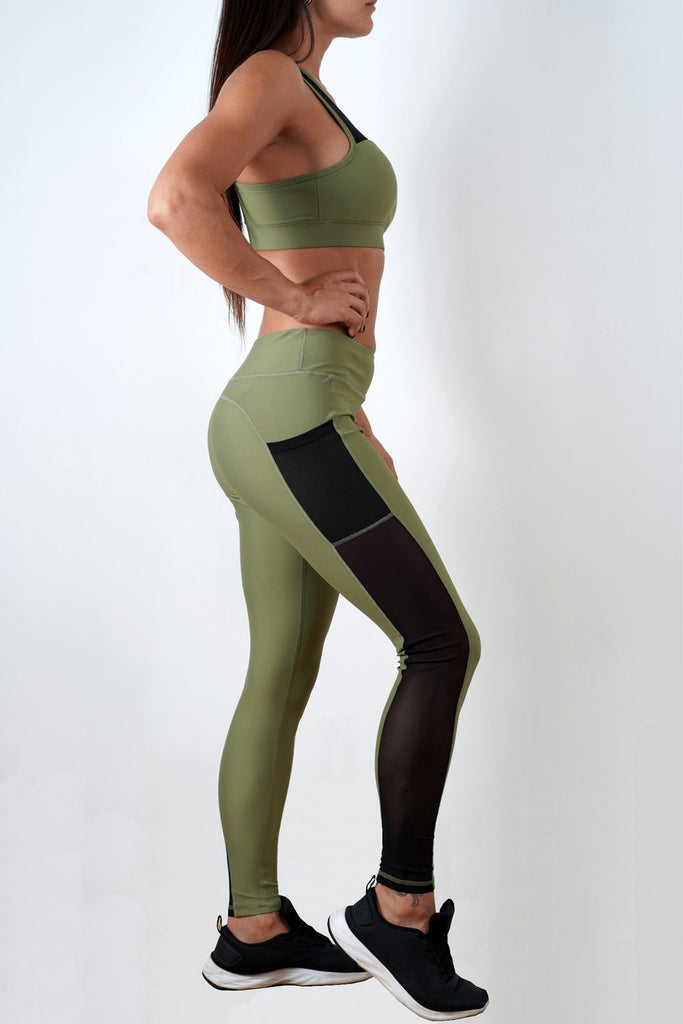 khaki stretchy women side mesh workout leggings