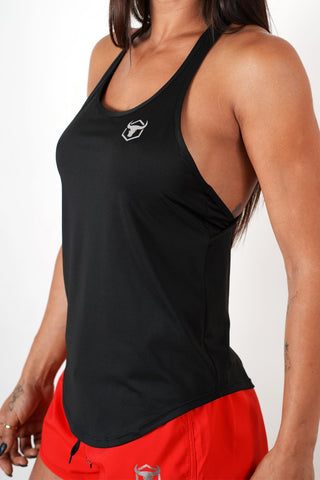 black gym women tank top for mobility and comfort