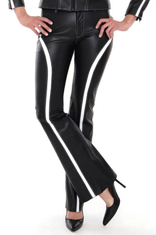 Handmade Low Waisted Striped Leather Pants