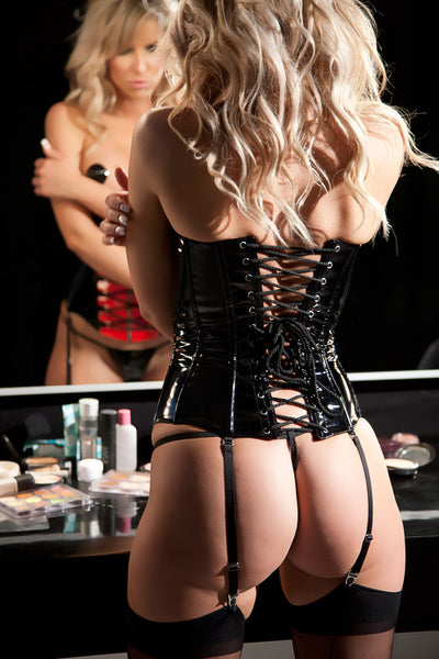Black and Red Vinyl Cupless Corset