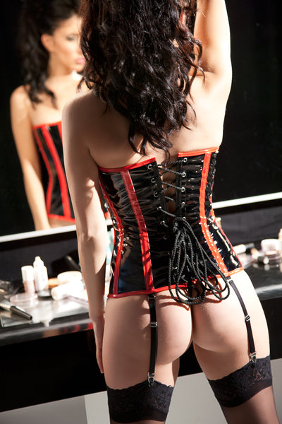Black and Red Vinyl Corset with Piping