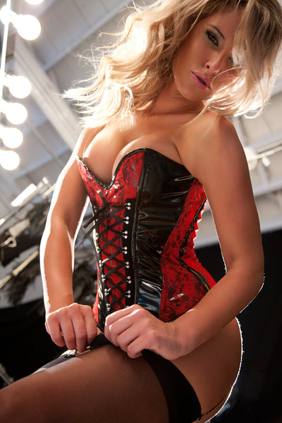 Black and Red Vinyl and Lace Overlay Corset
