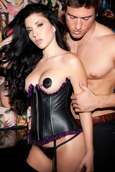Underbust Leather Corset with Purple Frill