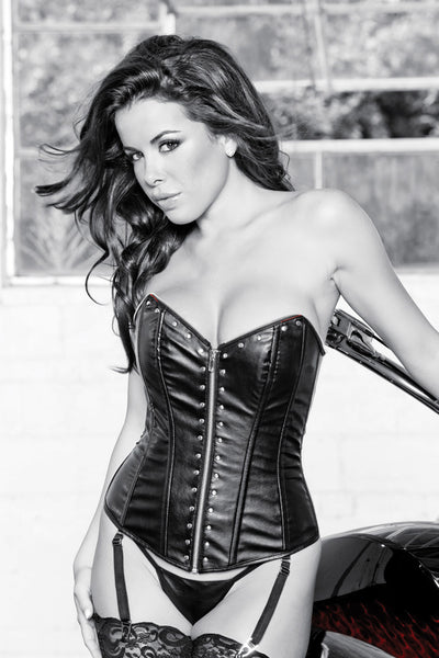 Faux Leather Metal Rocker Corset