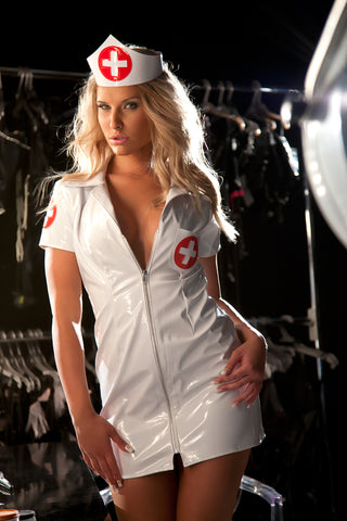 White Vinyl Nurse Mini Dress