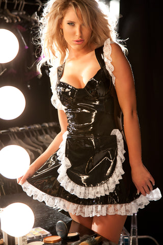 Sexy French Maid Vinyl Dress Costume