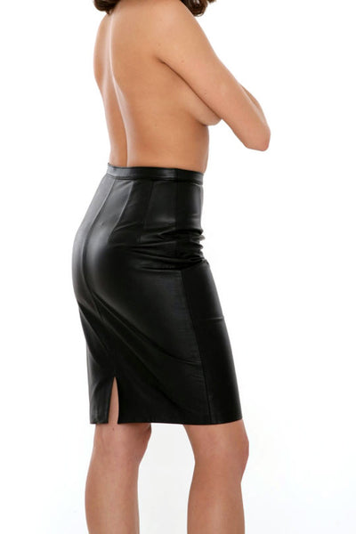 Handmade Below the Knee Tapered Black Leather Skirt