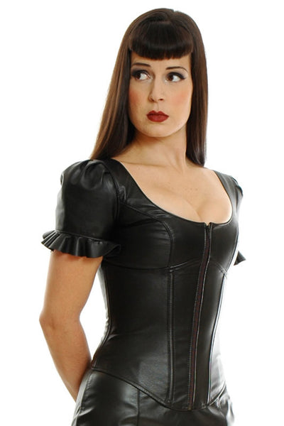 Handmade Leather Corset Top With Puffed Sleeves