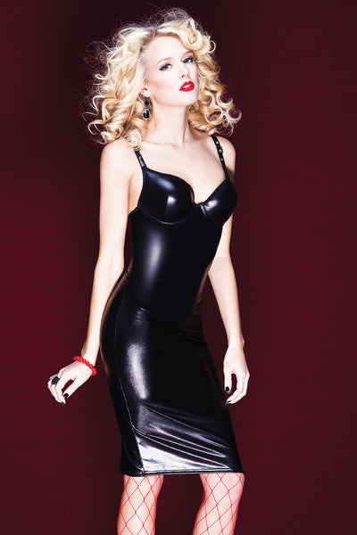 Wet Look Dress with Moulded Underwire Cups