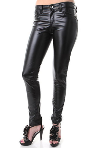Womens Faux Leather Skinny Jeans