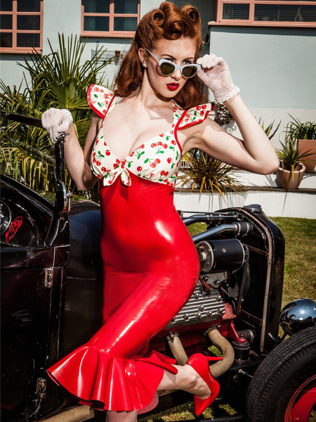 50's Inspired Cherry Belle Latex Sweetheart Dress