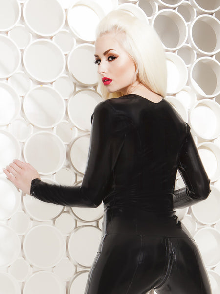 Long Sleeve Latex Scoop Top