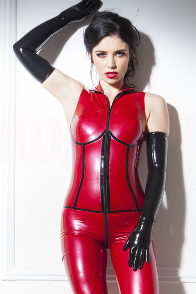 Red and Black Sleeveless Latex Catsuit