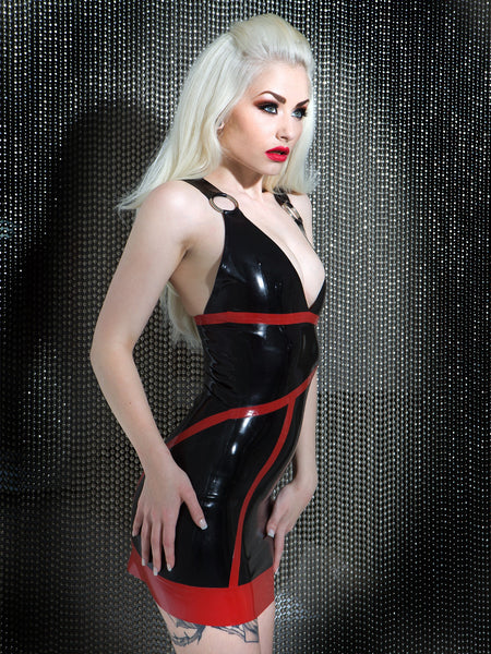 Desire Latex V Neck Halter Dress