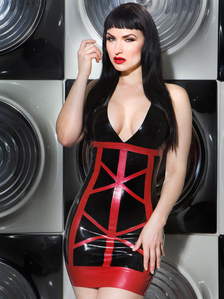Allure Latex V Neck Latex Halter Dress