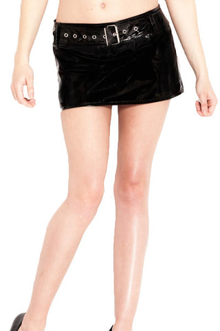 Vinyl Belted Micro Mini Skirt