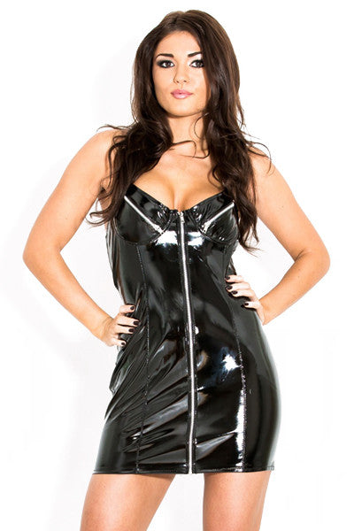 Black Exposure Vinyl Halter Dress
