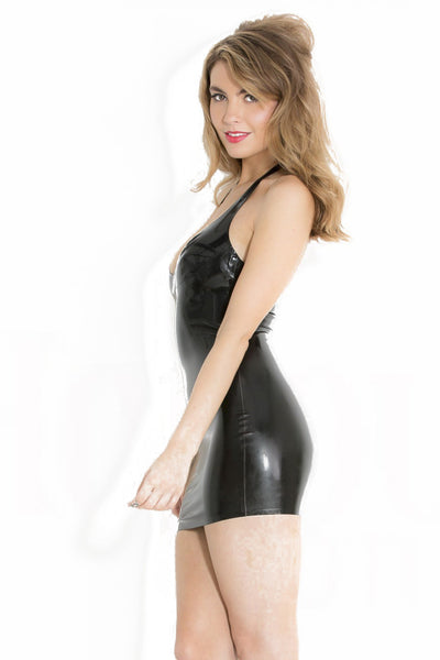 Latex Mini Halter Dress