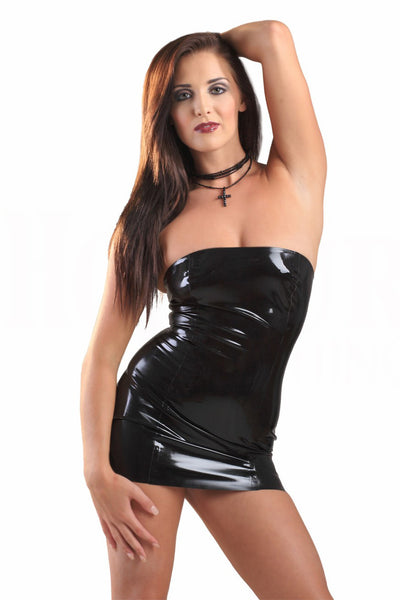 Latex Strapless Tube Dress
